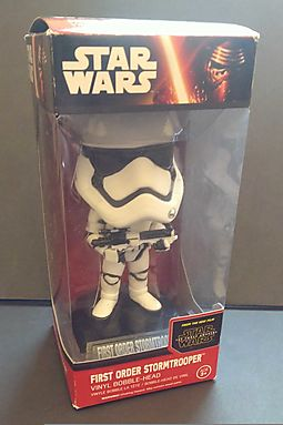 Star Wars First Order Stormtrooper: Wacky Wobbler x The Force Awakens Bobble-Head Vinyl Figure + 1 Free Official Trading Card Bundle (062392)
